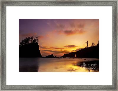 Sunset At Second Beach Framed Print by Keith Kapple