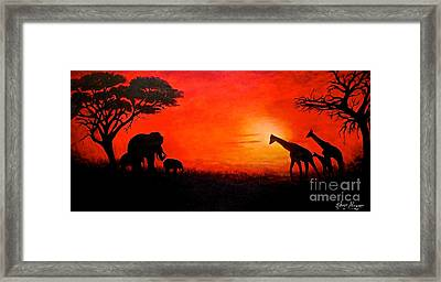 Sunset At Serengeti Framed Print by Sher Nasser