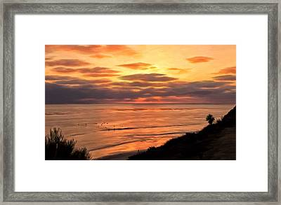 Sunset At Swami's Encinitas Framed Print by Michael Pickett
