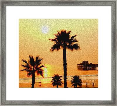 Sunset At The Beach In Oceanside California Framed Print