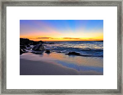 Sunset At The Beach Framed Print by Sally Nevin