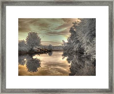 Sunset At The Boathouse Framed Print by Jane Linders