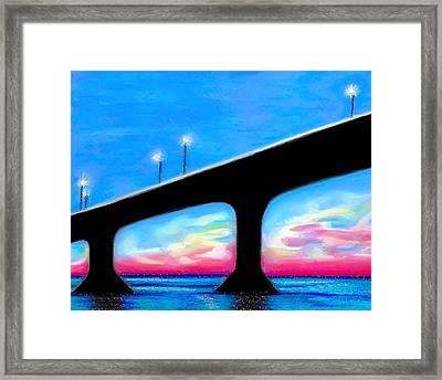 Sunset At The Bridge Framed Print