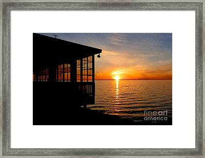 Sunset At The Crab Shack Framed Print