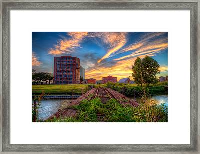 Sunset At The Imperial Sugar Factory Early Stage Landscape Framed Print