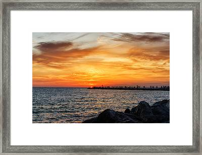 Sunset At The Jetties Framed Print by Frank J Benz