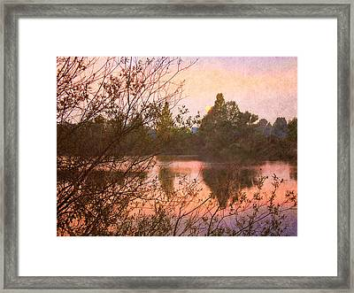 Sunset At The Lake Framed Print by Angela Bruno