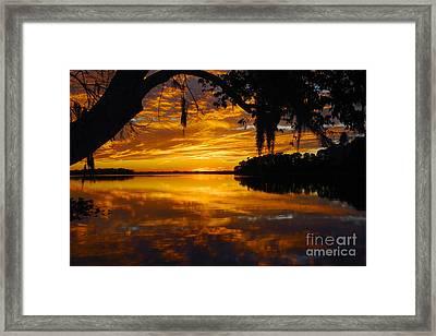 Sunset At The Lake Framed Print by Rick Mann