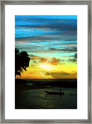 Sunset At The Luau Framed Print by Kara  Stewart