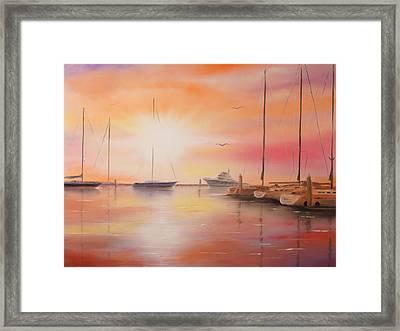 Sunset At The Marina Framed Print