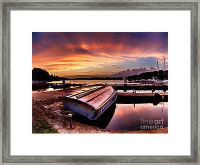 Sunset At The Marina Framed Print by Mark Miller