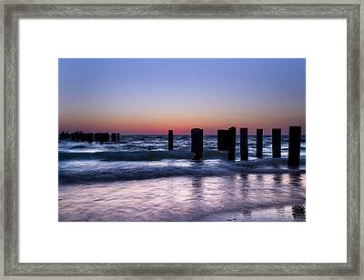 Sunset At The Old Pier  Framed Print by Frank Molina