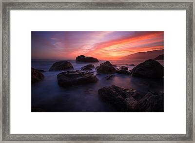 Sunset At The Pacific Framed Print by Shane Hofstetter