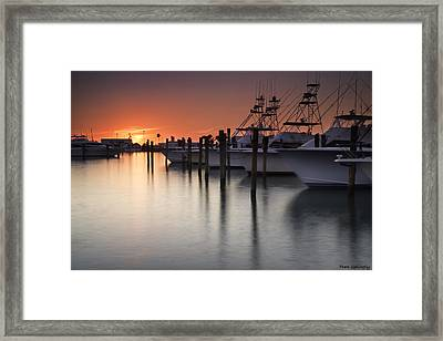 Sunset At The Pelican Yacht Club Framed Print