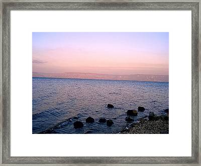 Sunset At The Sea Of Galilee Framed Print by Sandra Pena de Ortiz