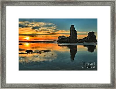 Sunset At The Sea Stacks Framed Print by Adam Jewell