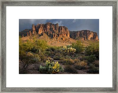 Sunset At The Superstition Mountains Framed Print