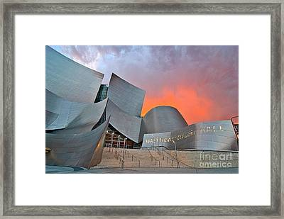 Sunset At The Walt Disney Concert Hall In Downtown Los Angeles. Framed Print