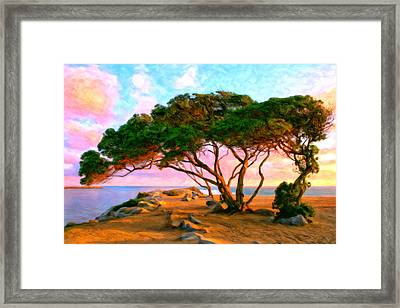Sunset At The Wedge In Newport Beach Framed Print by Michael Pickett