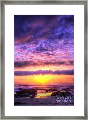 Sunset At Treasure Cove Framed Print by Eddie Yerkish