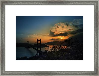 Sunset At Tsing Ma Bridge Framed Print