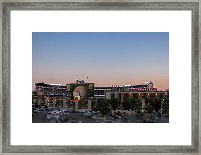 Sunset At Turner Field Framed Print by Tom Gort