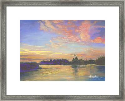 Sunset At Victoria Harbor Framed Print