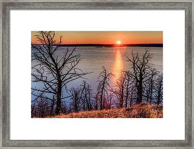 Sunset At Yellowstone Lake Framed Print by Tom Norring