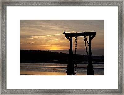Sunset Barge  Framed Print by Eugene Bergeron
