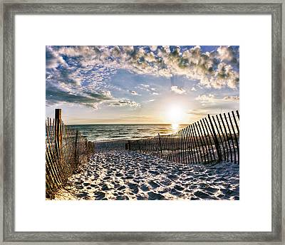 Sunset Beach 30a Rosemary Florida White Sand Pathway Art Framed Print