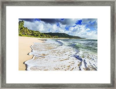 Framed Print featuring the photograph Sunset Beach Foamy Shoreline by Aloha Art