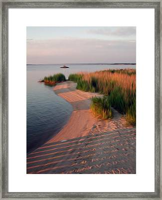 Framed Print featuring the digital art Sunset Beach by Kelvin Booker