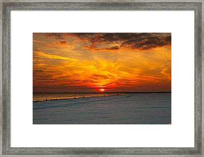 Framed Print featuring the photograph Sunset Beach New York by Chris Lord