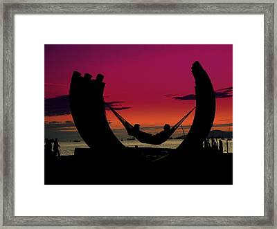 Sunset Beach Relaxation Framed Print by Brian Chase