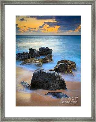 Sunset Beach Rocks Framed Print