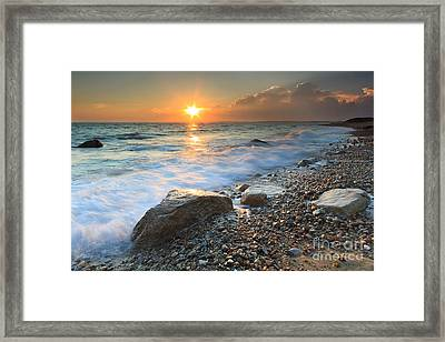 Sunset Beach Seascape Framed Print by Katherine Gendreau