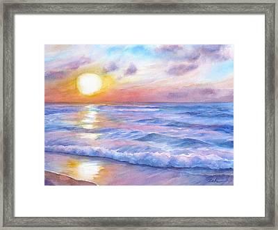 Sunset Beach Hawaii Seascape  Framed Print