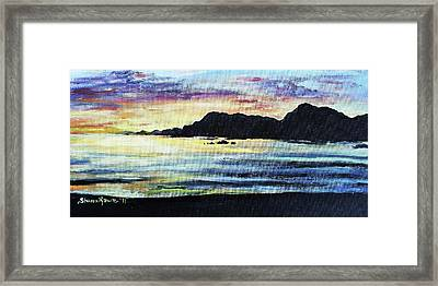 Framed Print featuring the painting Sunset Beach by Shana Rowe Jackson