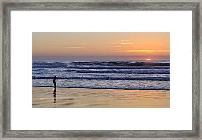Framed Print featuring the photograph Sunset Beach Stroll  by AJ  Schibig