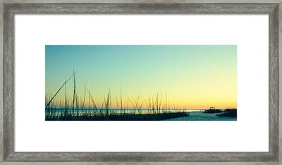 Sunset Beach Vintage Framed Print by Mark Hazelton