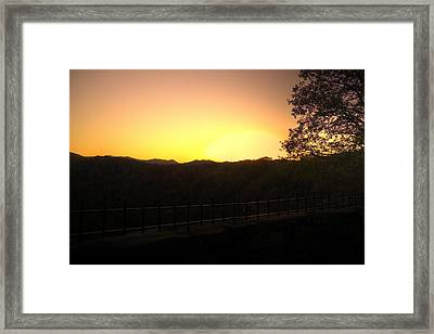 Framed Print featuring the photograph Sunset Behind Hills by Jonny D