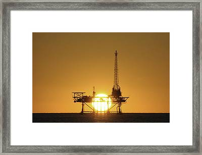 Framed Print featuring the photograph Sunset Behind Oil Rig by Bradford Martin