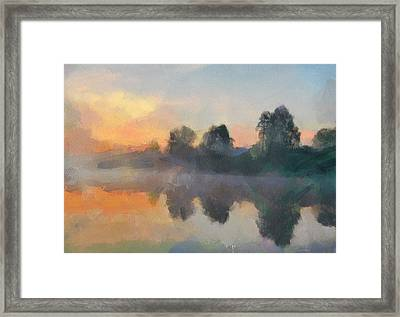 Sunset Behind The Trees Framed Print by Yury Malkov