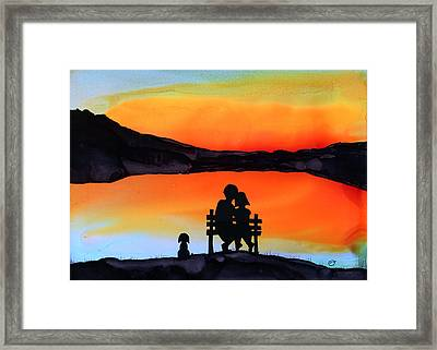 Sunset Bench Framed Print