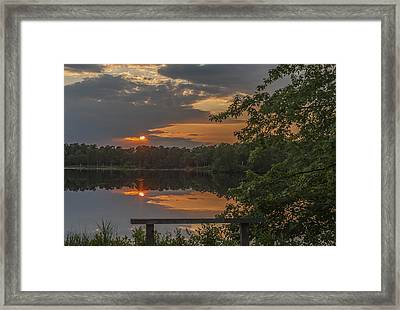 Sunset Bench Lake Horicon Nj Framed Print by Terry DeLuco