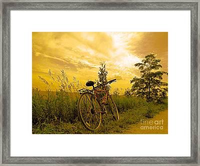 Sunset Biking Framed Print