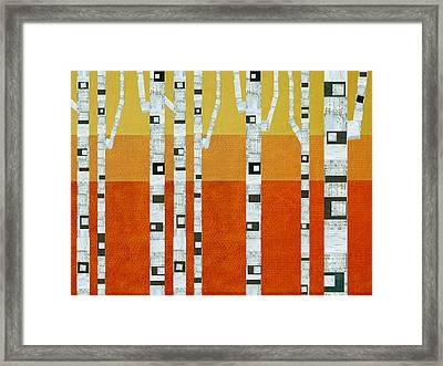 Framed Print featuring the painting Sunset Birches by Michelle Calkins