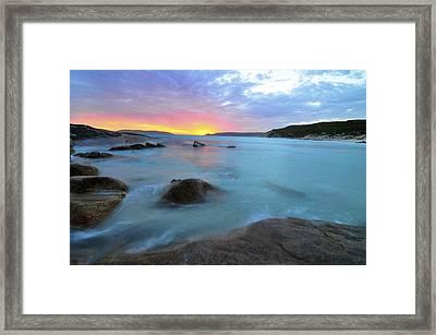 Sunset Blue Framed Print by Sally Nevin