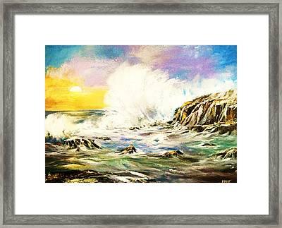Sunset Breakers Framed Print
