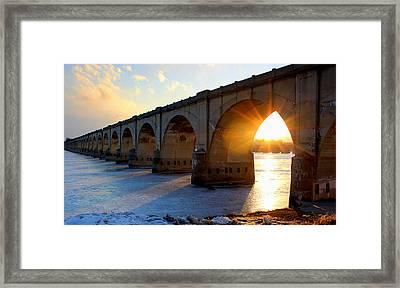 Sunset Bridge Framed Print